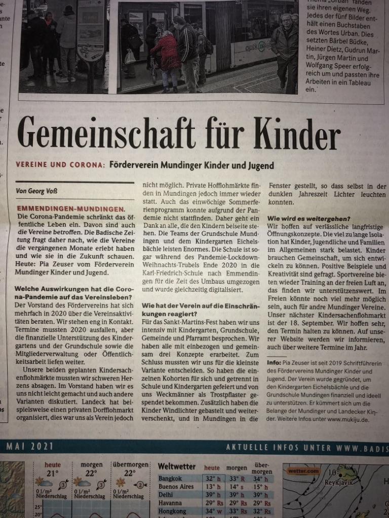 Interview Förderverein für Badische Zeitung
